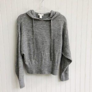 H&M Cropped Hooded Knit Sweater Grey Small
